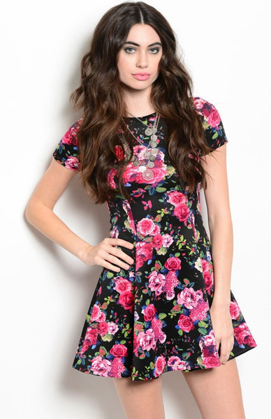 Floral Cap Sleeve Fit & Flare Cocktail Dress - BodiLove | 30% Off First Order  - 1