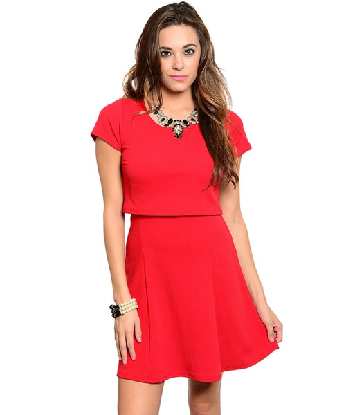 Trendy Cap Sleeve Fit & Flare Dress | 30% Off First Order | Red