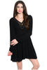 Long Sleeve Lace Trimmed Boho Peasant Dress | 30% Off First Order | Black