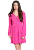 Long Sleeve Lace Trimmed Boho Peasant Dress | 30% Off First Order | Fuchsia