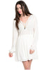 Long Sleeve Lace Trimmed Boho Peasant Dress | 30% Off First Order | White