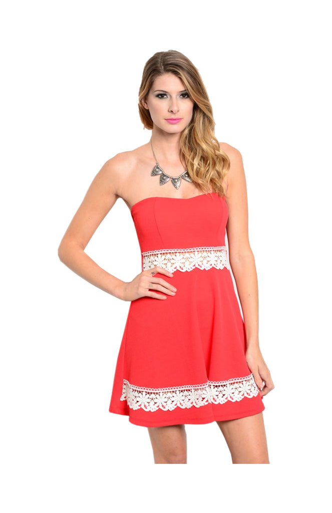 Strapless Fit & Flare Dress W/ Cutout Crochet Trim - BodiLove | 30% Off First Order  - 5