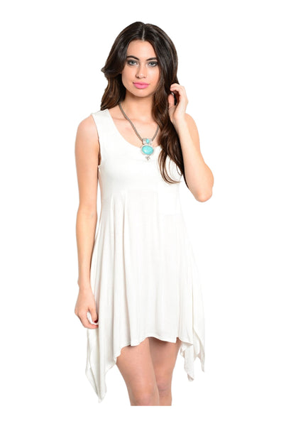 Sleeveless Tunic W/ Trapeze Shark Bite Hem | 30% Off First Order | White