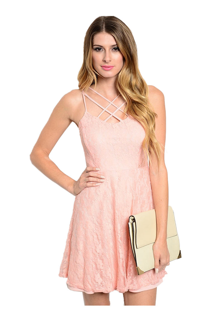 Lace Spaghetti Strap Fit & Flare Cocktail Dress - BodiLove | 30% Off First Order  - 1