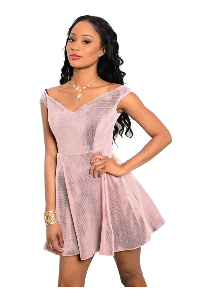 Off The Shoulder Fit & Flare Cocktail Dress | 30% Off First Order | Light Pink
