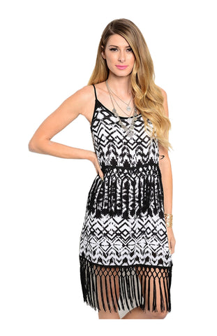 Spaghetti Strap Sun Dress W/ Fringe Trim