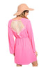 Long Sleeve Lace Trimmed Boho Peasant Dress | 30% Off First Order | Pink