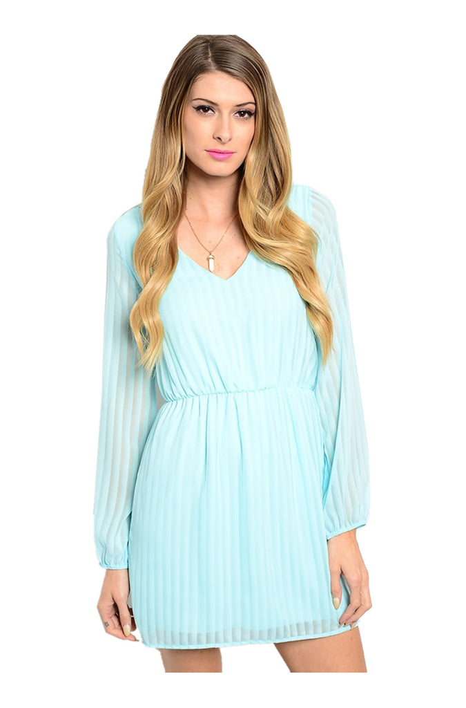 Long Sleeve Lace Trimmed Boho Peasant Dress | 30% Off First Order | Aqua