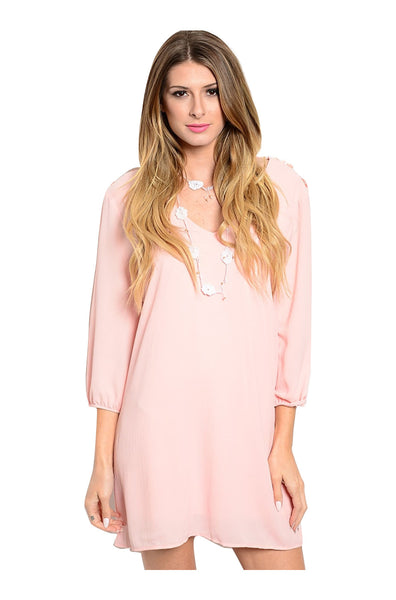 3/4 Sleeve Babydoll Shift Dress W/ Crochet Trim - BodiLove | 30% Off First Order  - 1