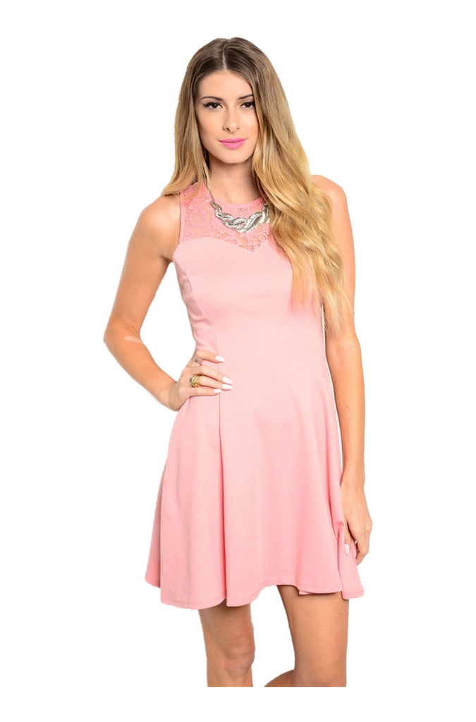 Sleeveless Fit & Flare Cocktail Dress W/ Lace Yoke - BodiLove | 30% Off First Order  - 3