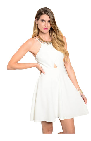 Spaghetti Strap Fit & Flare Cocktail Dress