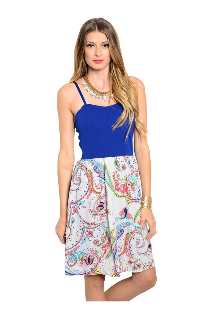 Spaghetti Strap Floral Print Sun Dress | 30% Off First Order | Royal & White