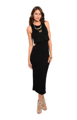 Sleeveless Mock Crop Top Midi Dress