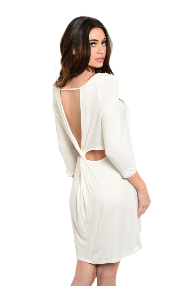 Oversize 3/4 Sleeve Tunic Dress W/ Back Cutout - BodiLove | 30% Off First Order  - 11