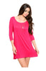 Oversize 3/4 Sleeve Tunic Dress W/ Back Cutout - BodiLove | 30% Off First Order  - 10