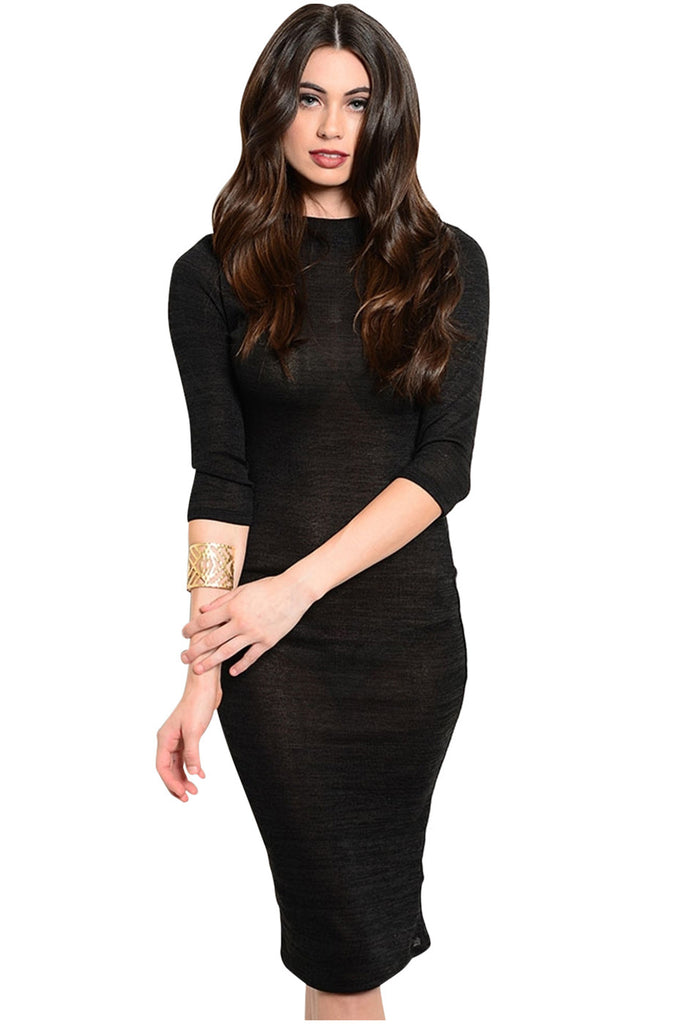 3/4 Sleeve Bodycon Midi Sweater Dress - BodiLove | 30% Off First Order  - 1