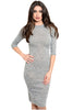 3/4 Sleeve Bodycon Midi Sweater Dress
