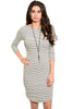 3/4 Sleeve Striped Bodycon Midi Dress - BodiLove | 30% Off First Order - 3 | Ivory & Gray