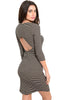 3/4 Sleeve Striped Bodycon Midi Dress - BodiLove | 30% Off First Order - 2 | Black & Tan