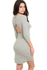 3/4 Sleeve Striped Bodycon Midi Dress - BodiLove | 30% Off First Order - 4 | Ivory & Gray