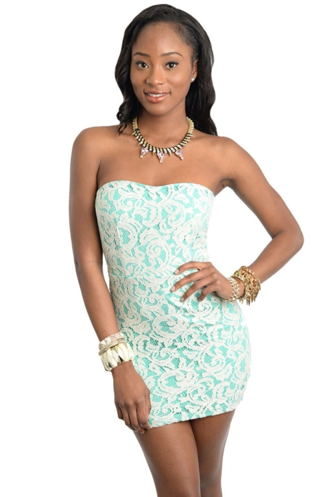 Strapless Lace Front Bodycon Dress - BodiLove | 30% Off First Order  - 1