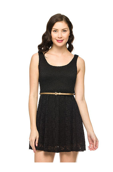 Belted Fit & Flare Lace Cocktail Dress - BodiLove | 30% Off First Order  - 1