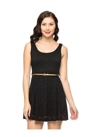 Belted Fit & Flare Lace Cocktail Dress
