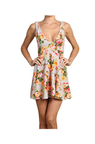 Sleeveless Floral Print Fit & Flare Cocktail Dress | 30% Off First Order | Khaki