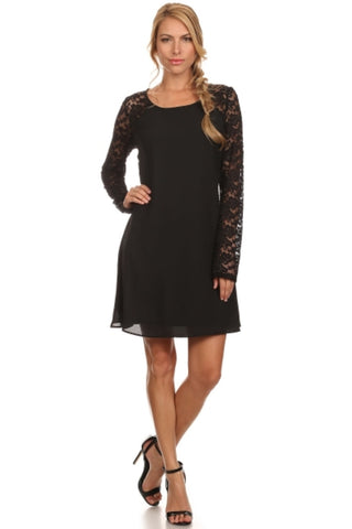 Lace Long Sleeve A-Line Cocktail Dress