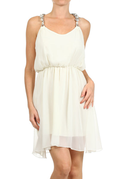Chiffon Dress W/ Pearl & Rhinestone Straps | 30% Off First Order | Ivory
