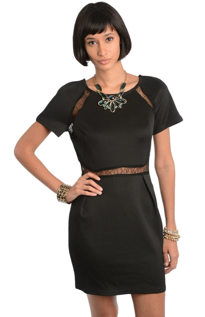 Lace Cut Out Sheath Mini Dress - BodiLove | 30% Off First Order  - 1