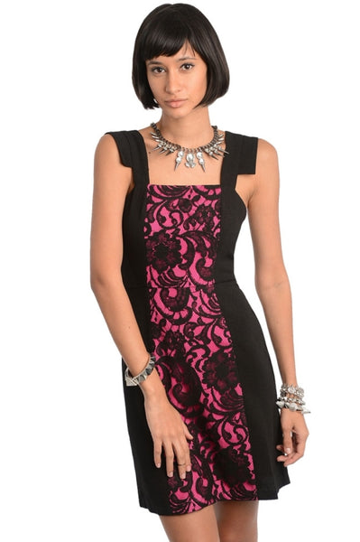 Contrast Lace Inset Sheath Dress - BodiLove | 30% Off First Order  - 1