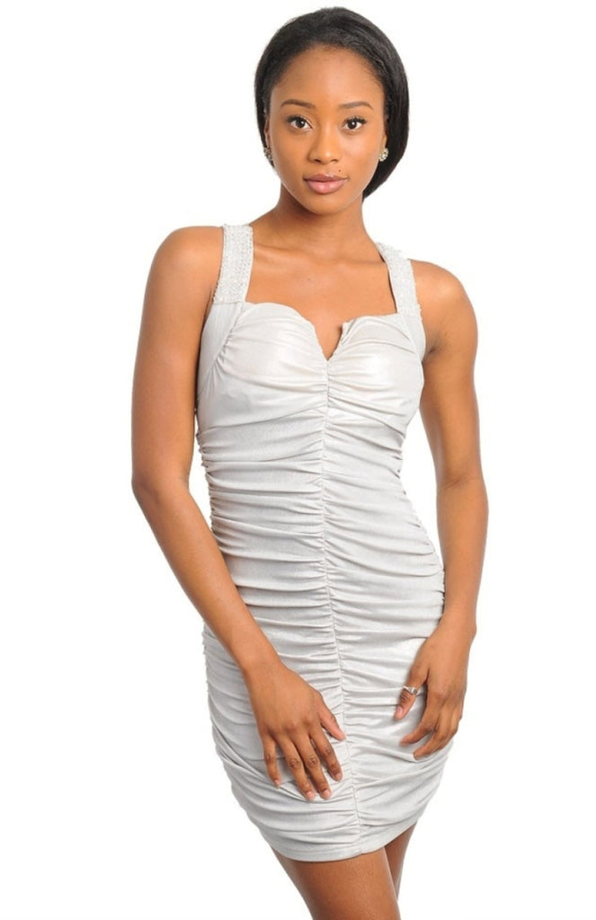 Beaded Straps Ruched Metallic Dress - BodiLove | 30% Off First Order  - 3