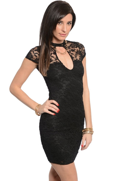 Lace Cutout Fitted Lined Dress - BodiLove | 30% Off First Order  - 1