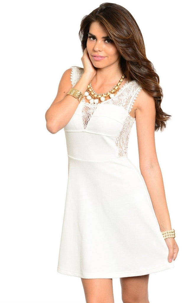 Sleeveless Lace Panel Flared Skater Dress - BodiLove | 30% Off First Order  - 3