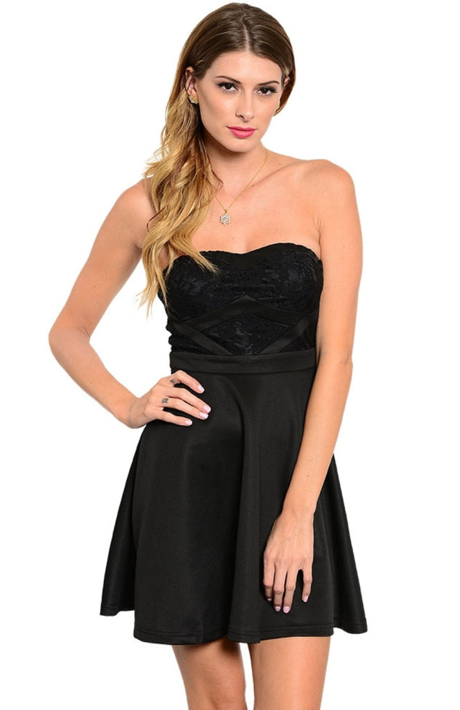 Banded Lace Inset Sweetheart Top Skater Dress - BodiLove | 30% Off First Order  - 1
