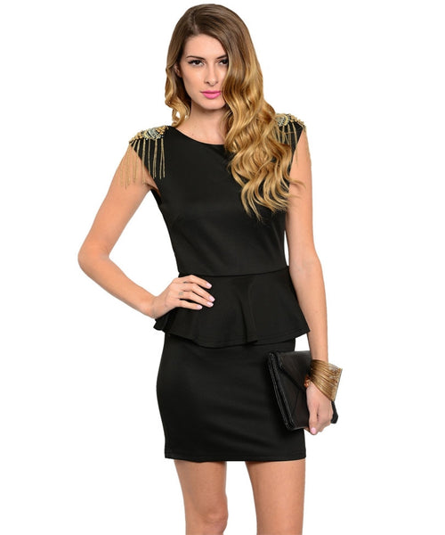 Peplum Sheath Dress W/ Embellished Shoulders - BodiLove | 30% Off First Order  - 1