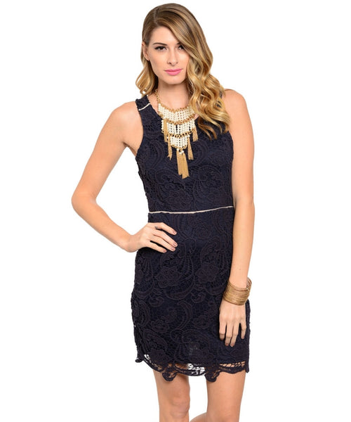 Crochet Lace Shift Dress W/ Cutout Back - BodiLove | 30% Off First Order  - 1