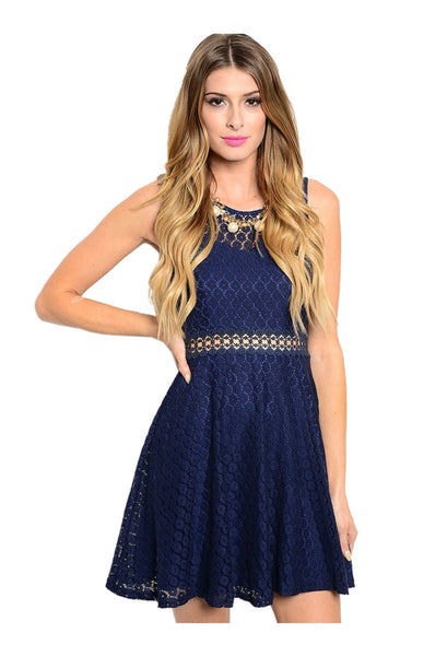 Sleeveless Crochet Lace Fit & Flare Cocktail Dress - BodiLove | 30% Off First Order  - 1