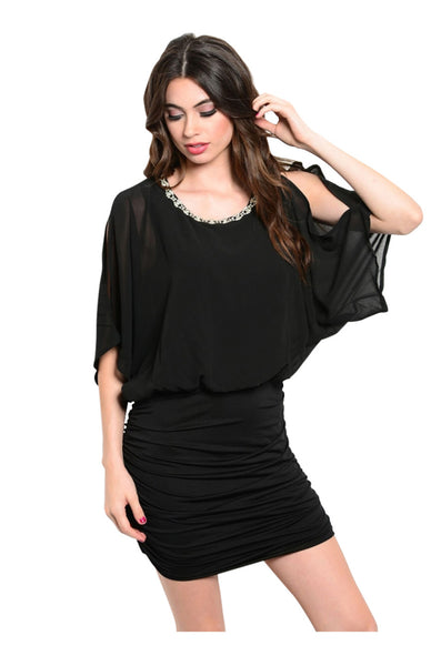 3/4 Sleeve Combination Chiffon Blouse Dress - BodiLove | 30% Off First Order  - 1