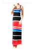 Sleeveless Striped Racer Back Maxi Dress | 30% Off First Order | Coral & Black