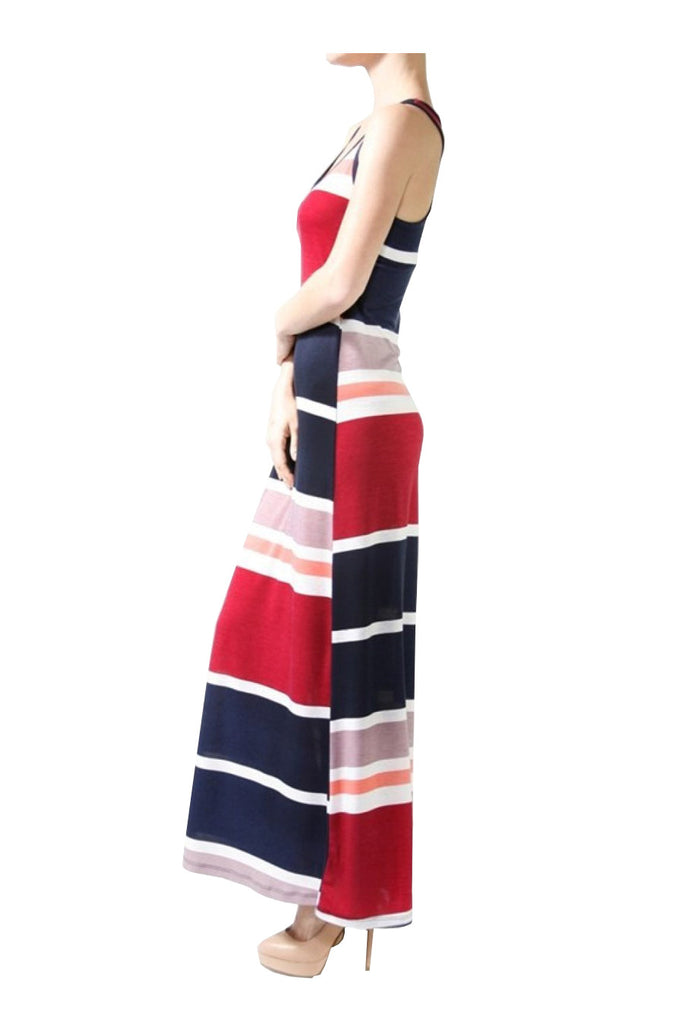 Sleeveless Striped Racer Back Maxi Dress | 30% Off First Order | Navy & Burgundy
