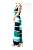 Sleeveless Striped Racer Back Maxi Dress | 30% Off First Order | Navy & Green