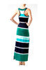 Sleeveless Striped Racer Back Maxi Dress | 30% Off First Order | Navy & Orange