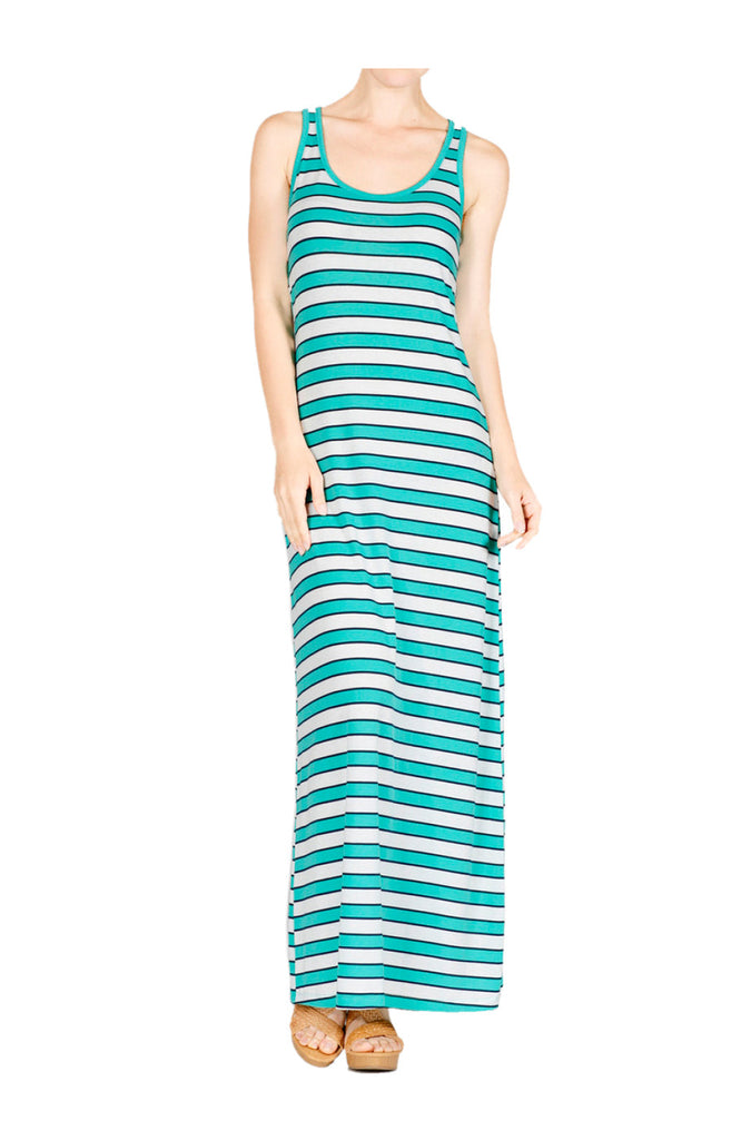 Sleeveless Striped Racer Back Maxi Dress | 30% Off First Order | Coral & Light Gray