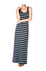Sleeveless Striped Racer Back Maxi Dress | 30% Off First Order | Light Gray & Black