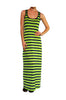 Sleeveless Striped Racer Back Maxi Dress | 30% Off First Order | Navy & Lime
