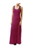 Sleeveless Striped Racer Back Maxi Dress | 30% Off First Order | Pink & Black