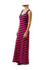 Sleeveless Striped Racer Back Maxi Dress | 30% Off First Order | White & Navy