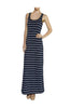 Sleeveless Striped Racer Back Maxi Dress | 30% Off First Order | Gray & White